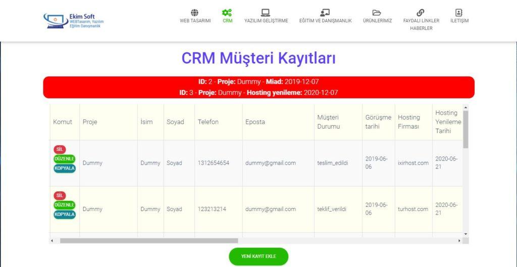 CRM Müşeri Kayıtları Veritabanı Ekran Görüntüsü