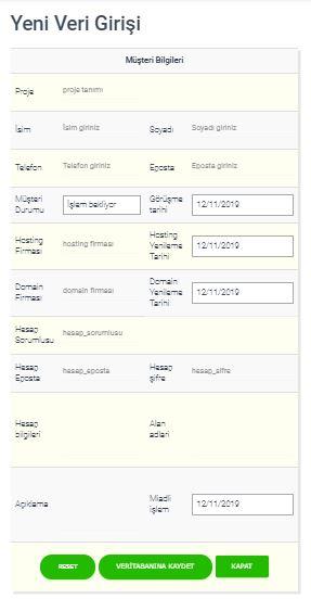 CRM yazılımı yeni veri girişi ekran görüntüsü