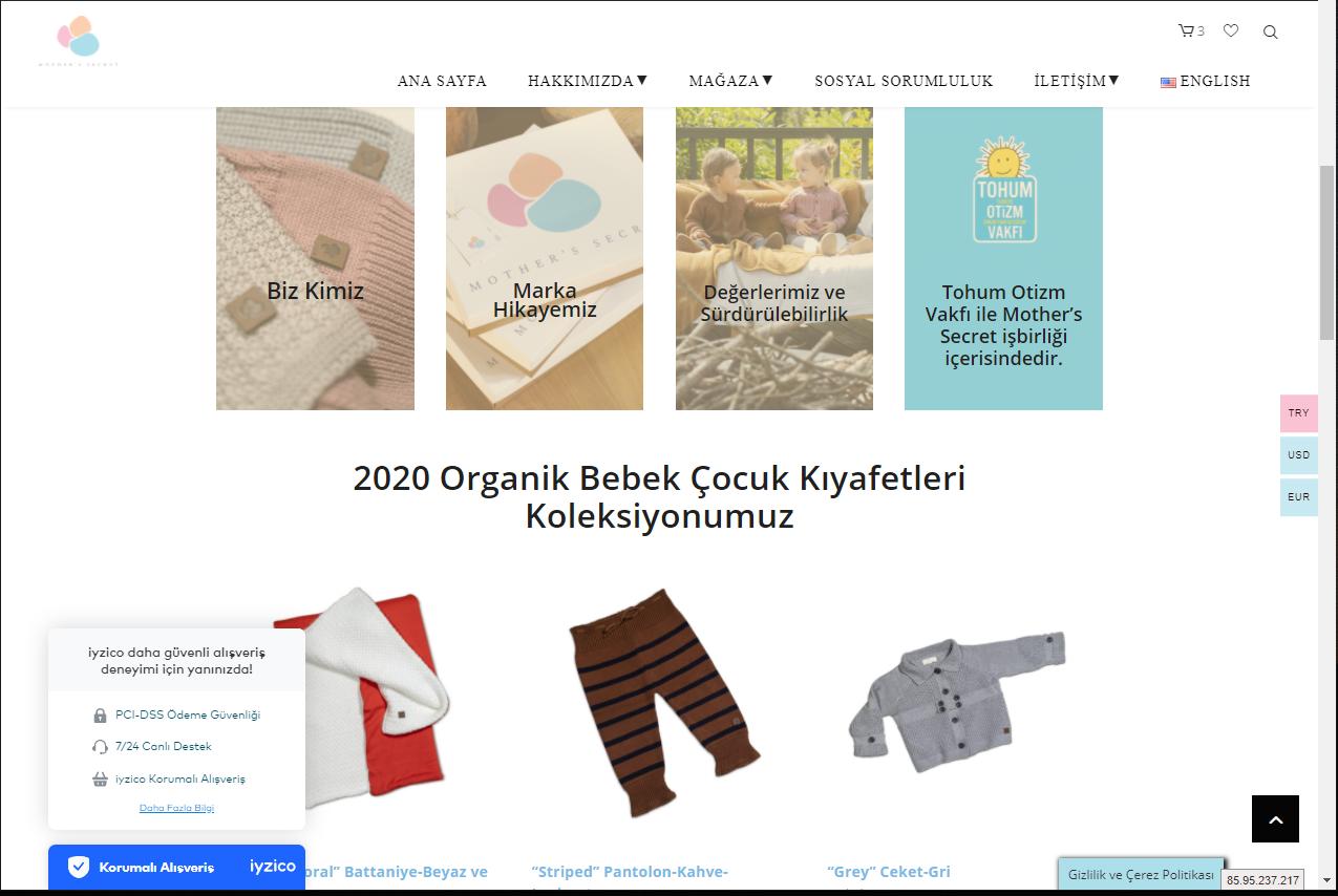Mother's Secret Çocuk Kıyafetleri WEB Sayfası